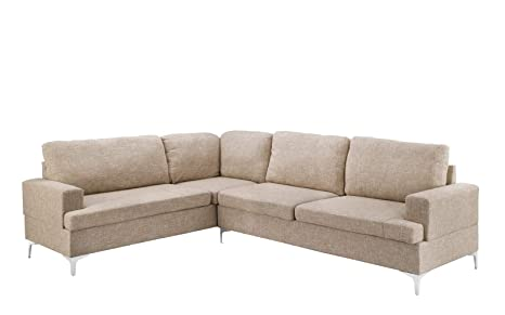 Linen Sectional Sofa, Classic Living Room L-Shape Couch (Beige)