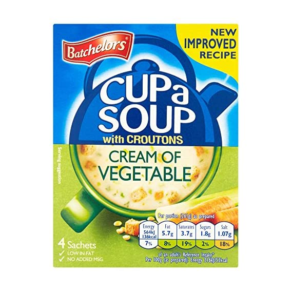 Batchelor's Cup A Soup with Croutons 4 Sachets - Cream of Vegetable, 122 g