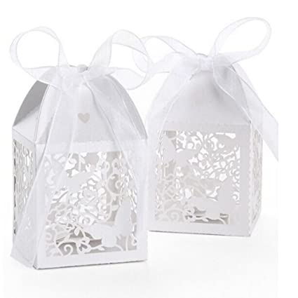 PIXNOR 50pcs Boda Dulces Caramelos cajas regalo per favore – Mariposa (blanco)