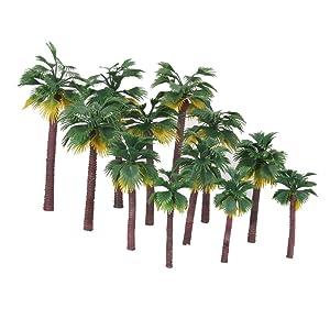 Miniature Plastic Palm Trees Fairy Garden Landscape Bonsai Decor Pack of 12