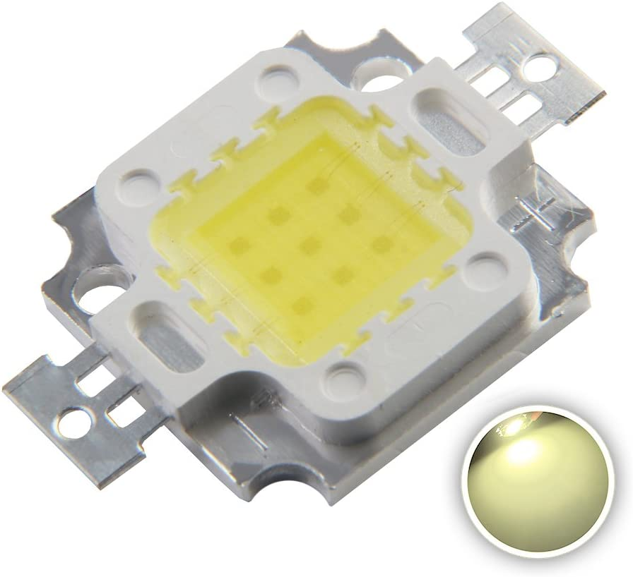 Chanzon High Power Led Chip 10W Natural White 4000K-4500K 900mA DC 9V-11V 10 Watt Super Bright Intensity SMD COB Light Emitter Components Diode 10 W Bulb Lamp Beads DIY Lighting