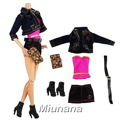 Miunana Vêtement Pour Barbie Style loisir + Chaussures + Carnet Pour Barbie