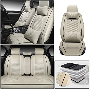 Luxury Full Set PU Leather Car Seat Cover Cushion Pad Protector Black US Stock