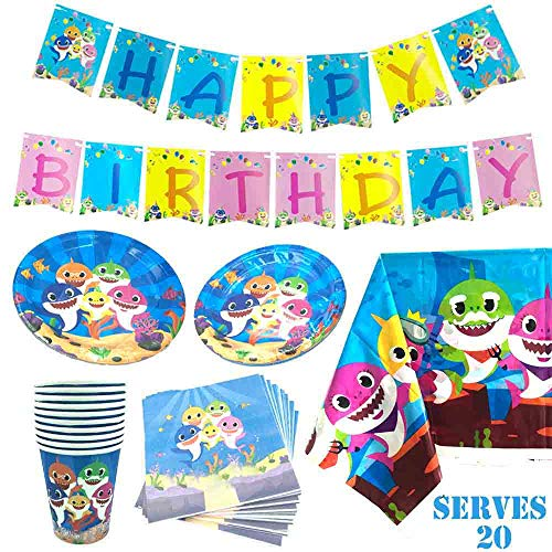 - Humfoo 82Pcs Baby Shark Birthday Party Supplies and Decorations Baby Shark Paper Plates,Cups,Napkins,Tablecloth,Baby Shark Birthday Banner,Serves 20