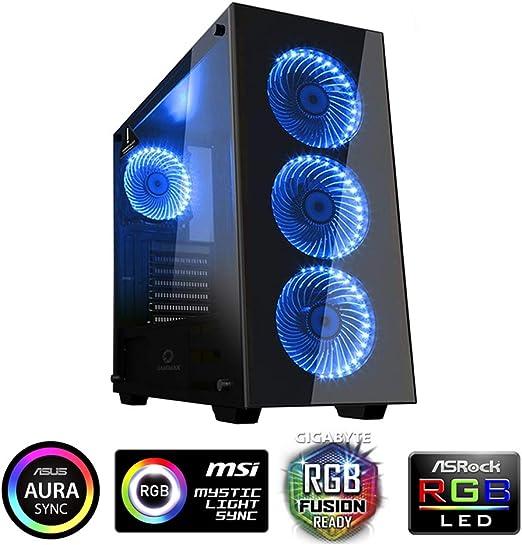 GameMax Draco New, Caja de Ordenador Gaming ATX Incluye 4 Ventiladores RGB 120mm Cristal Templado Apta Para Refrigeración Líquida, Negro: Amazon.es: Informática