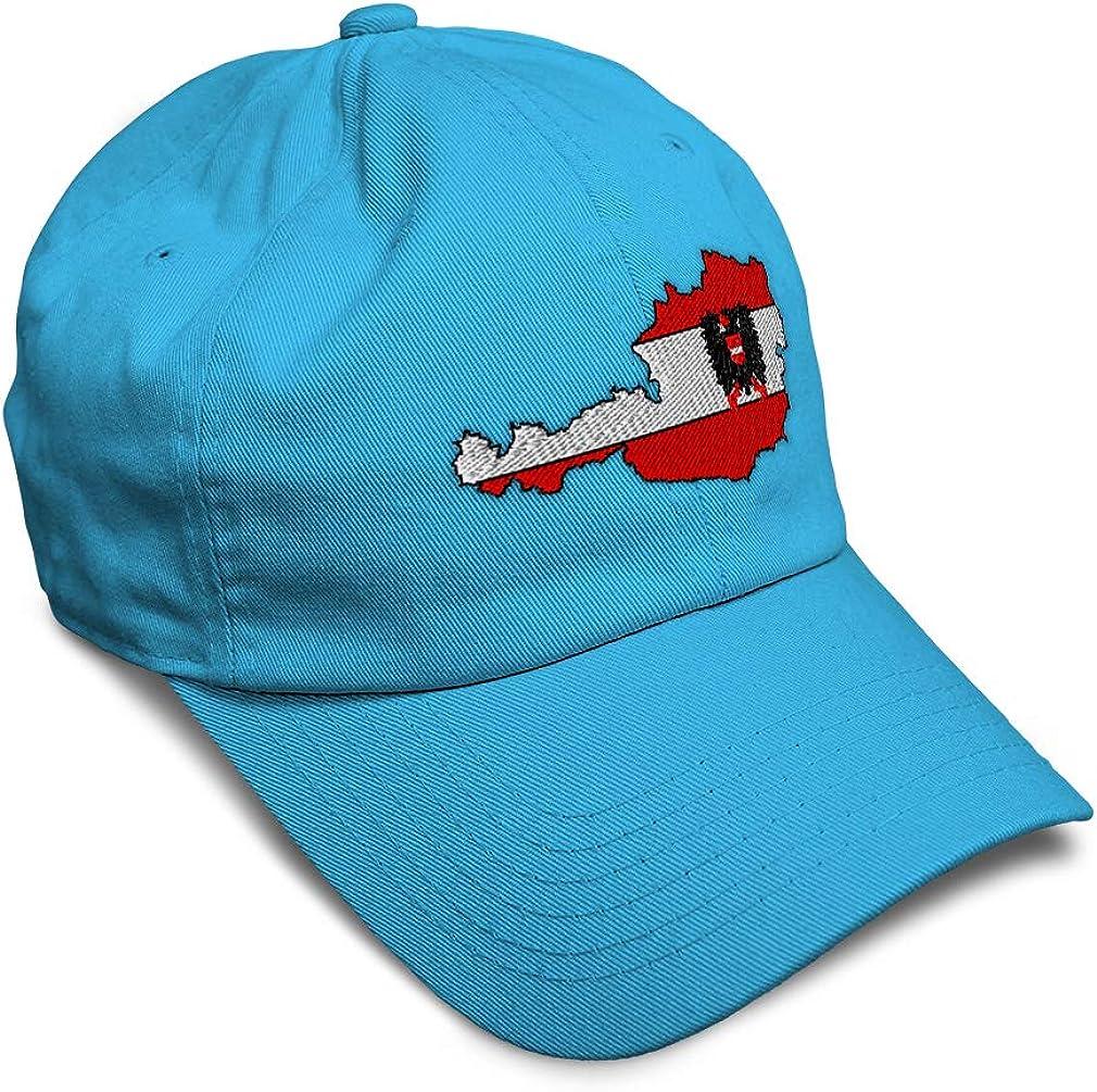 Custom Soft Baseball Cap Austria Flag Map Embroidery Dad Hats for Men /& Women