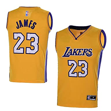 e3609903a282 Amazon.com  OuterStuff Youth Los Angeles Lakers  23 LeBron James Kids Gold  Jersey Youth Yellow