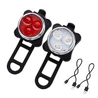 Hepooya LED Fahrradlicht Set, Wasserdicht LED Fahrradlampe, USB Wiederaufladbare LED Fahrradbeleuchtung mit 4 Licht-Modus, 2 USB-Kabel Fahrrad Licht für Radfahren -