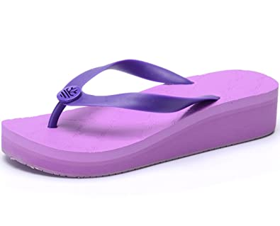 c20b6a11aeb OPIYNO Women Summer Casual Purple EVA Mid Platform Sandals Beach Wedge Flip  Flops 5.5M US