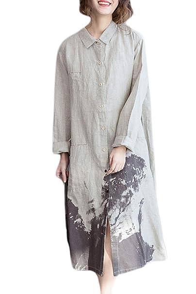 Sevozimda Las Mujeres Ropa De Cama De Algodón Blusas Vestido Maxi Vestidos Retro Vintage Loose Beige
