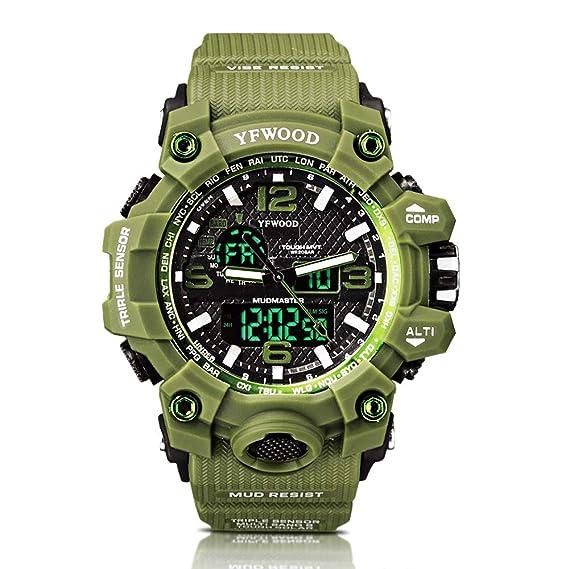 Reloj deportivo Hombres Relojes militares Cuarzo analógico Army Boy Unisex  Verde Patrón Dial grande Digital multifuncional Reloj impermeable con luz   ... 8bd30efb7001
