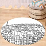 Niasjnfu Chen Custom carpetParis Architecture Theme Design Illustration of Roofs in Paris and Eiffel Tower Print for Bedroom Living Room Dorm Black and White