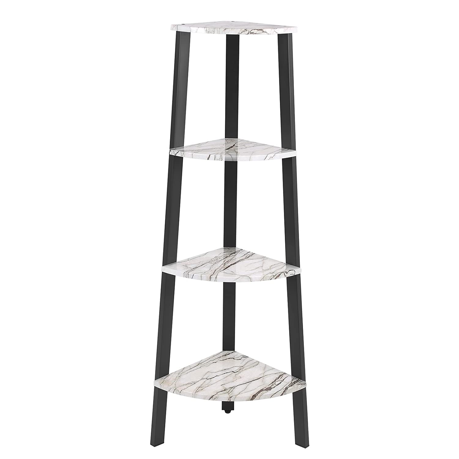 SONGMICS Corner Shelf, 4-Tier Display Shelf Bookshelf, Plant Stand for Home and Office, Faux Marble with Metal Frame ULLS34BW