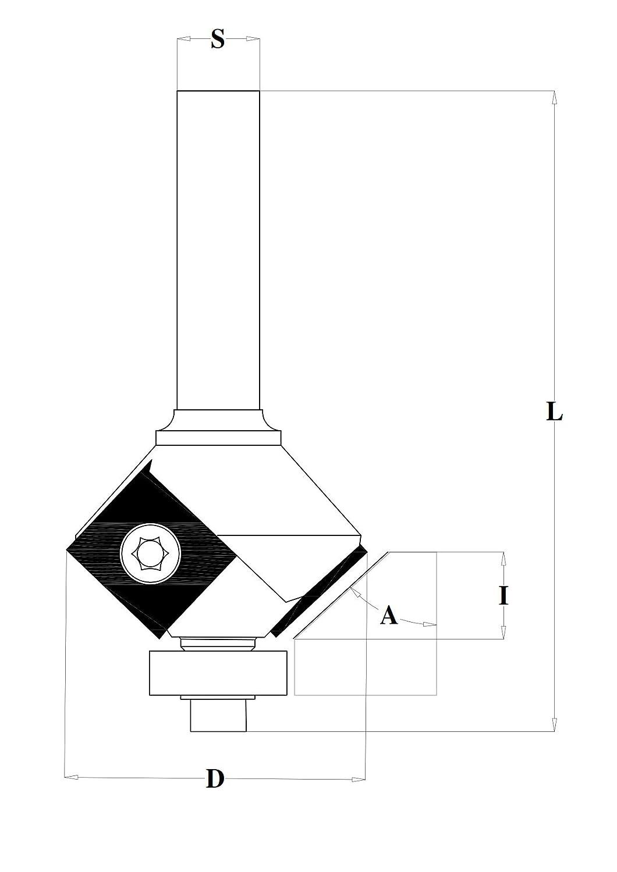 Fraiser D 25 // I 11 // S 6 // A 22 Fraise pour D/éfonceuse Fraises /à chanfreiner avec plaquettes r/éversibles