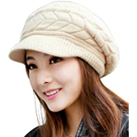HINDAWI Women Winter Warm Knit Hat Wool Snow Ski Caps With Visor 96e80489fde2