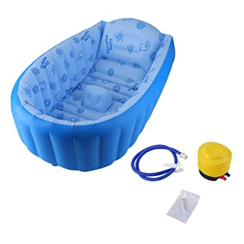 Bañera hinchable para bebé, cuadrada, verde/azul, PVC, para ...