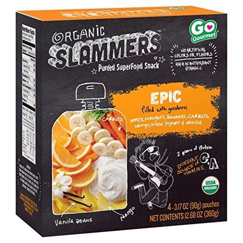 Organic Slammers Superfood Snack Epic Fruit, Veggie & Yogurt Filled Pouches 3.17ozx 4 pk ( total 12.68oz)