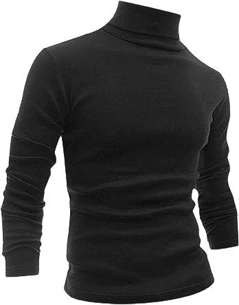 Allegra K Camiseta Para Hombres De Mangas Largas Cuello De Cisne Ajuste Delgado Casual: Amazon.es: Ropa y accesorios