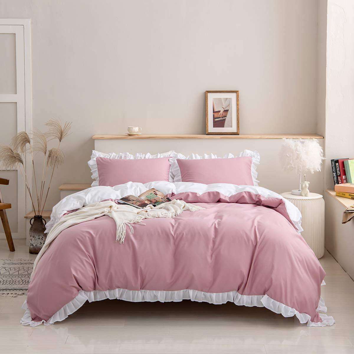 Erosebridal Pink Comforter Cover Twin Size for Kids Girls, White Ruffle Bedding Set Shabby Chic Duvet Cover Lightweight Reversible Bedspread Cover for Adult Women Bedroom Living Room Decor, 2 Pieces