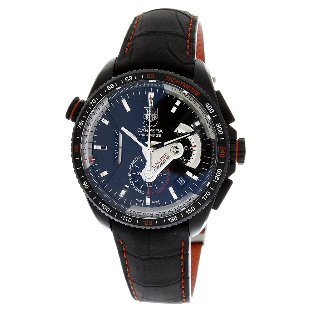 TAG Heuer Men s CAV5185.FC6237 Grand Carrera Leather Strap Chronograph Black Dial Watch
