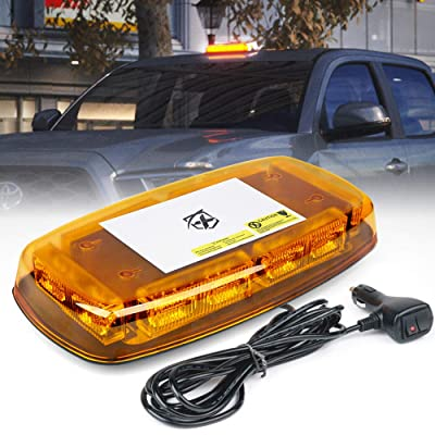 Xprite Amber 36 LED Roof Top Emergency Strobe Warning Lights 15 Flash Modes Hazard Mini Beacon Flashing Bar Light with Magnetic Base for Law Enforcement Construction Vehicles Trucks Snow Plow: Automotive