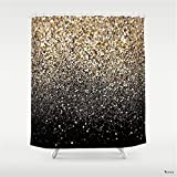 Black and Gold Shower Curtain Weeya Black & Gold Sparkle Shower Curtain 60 x 72 inch