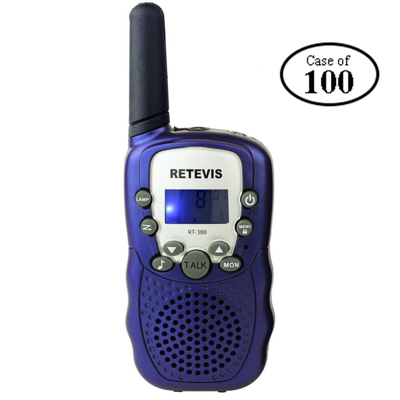 Case of 100,Retevis RT-388 Kids Walkie Talkies Boys 0.5W License Free 22CH FRS Toy Walkie Talkies
