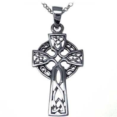 Sterling silver celtic cross pendant with 18 silver chain amazon sterling silver celtic cross pendant with 18quot silver chain aloadofball Image collections
