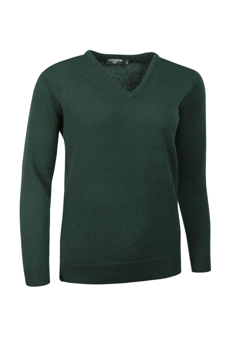 Glenmuir Ladies LKL2542VN V Neck Lambswool Golf Sweater Tartan Green XL by Glenmuir