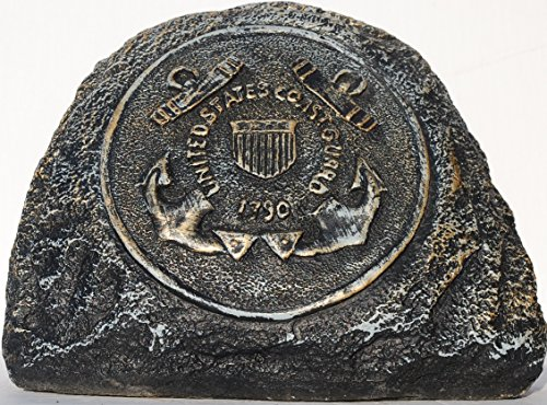 Coast Guard Service Stone Memorial Handmade in USA made of cast stone concrete great for indoor or outdoor 3 color options available(Bronze Patina)