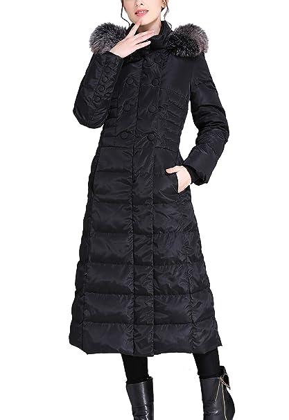 Amazon.com: Flygo - Chaqueta con capucha de piel de zorro ...