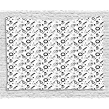 Ambesonne Geometric Tapestry by, Pattern in Postmodern Memphis Style Different Shapes Scattered on White, Wall Hanging for Bedroom Living Room Dorm, 60 W X 40 L Inches, Grey Black White
