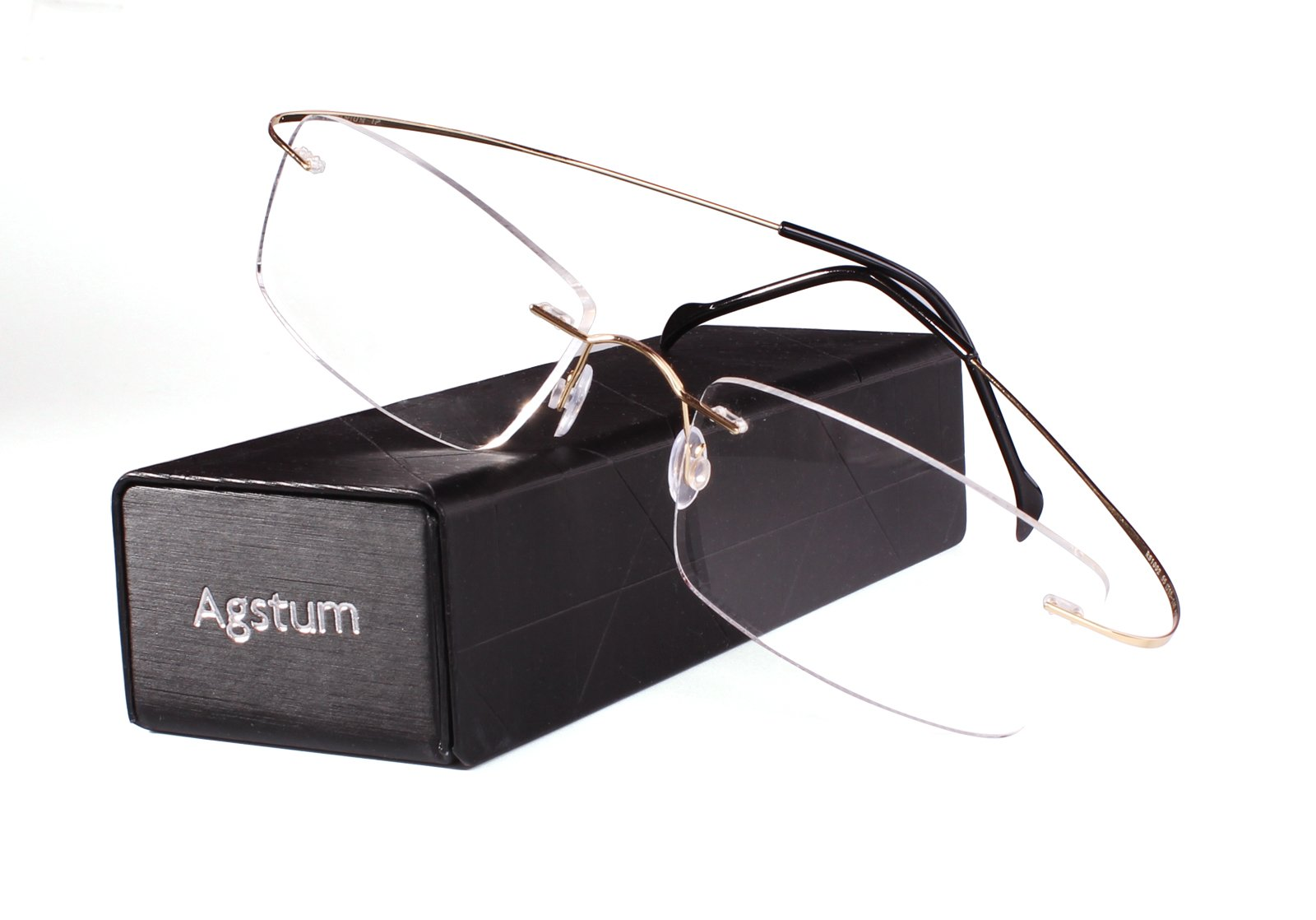 Agstum Pure Titanium Rimless Frame Prescription Hingeless Eyeglasses Rx (Gold, Non-Prescription Clear Lens / 55) by Agstum