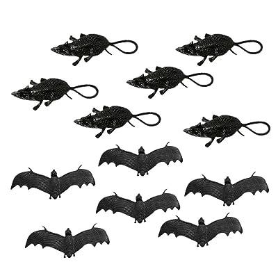 TangTanger Halloween Rubber Bat Toy(6 pcs), Mouse Toy(6 pcs) Halloween Decoration: Toys & Games