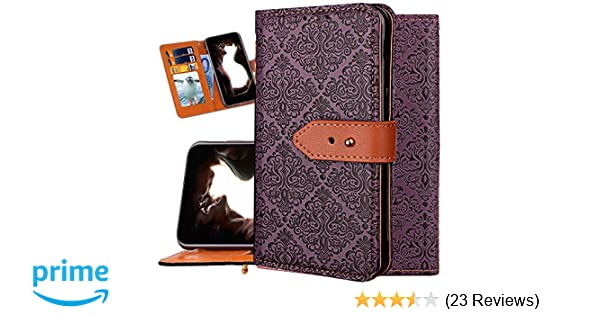 Iphone Xs Wallet Case For Women Iphone X Purse Case Auker Girly Vintage Book Leather Folio Flip Folding Stand Slim Fit Cover With 3 Card Holder Hidden