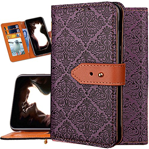 IPHONE X Wallet Case for Women,iphone X Purse Case,Auker Girly Vintage Book Leather Folio Flip Folding Stand Slim Fit Cover with 3 Card Holder&Hidden Wallet Cash Pocket for iphone X 5.8 (Purple)