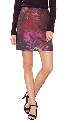 ESPRIT Collection 106EO1D002, Falda Mujer, Multicolor (Dark Red 2), 42