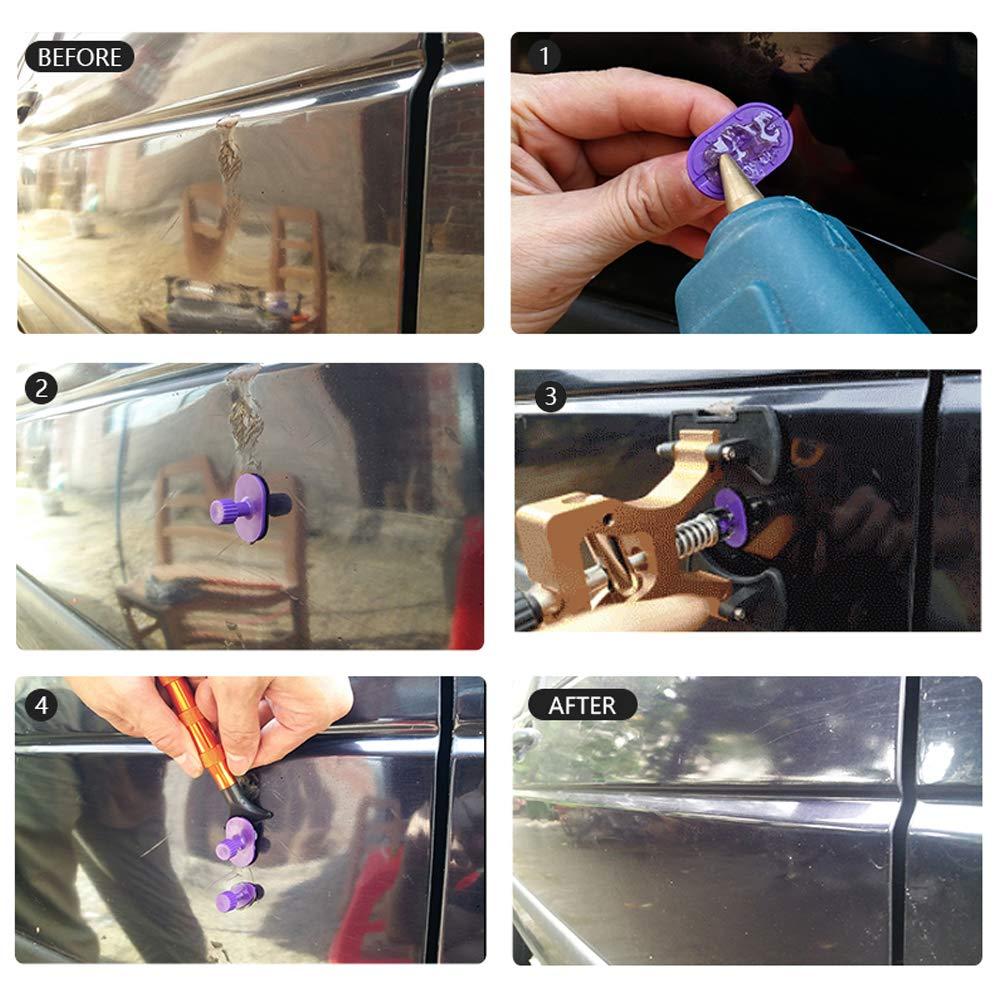 WANYIG Ausbeulwerkzeug Set Door Dings und Hagelsch/äden kleine Dellen 24 St/ück Paintless Auto Dent Repair Tools Kit KFZ Dellen Reparatur-Set Reparatur Werkzeuge f/ür Auto Dent Removal