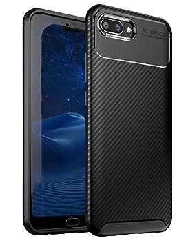 TTVie Funda para Honor 10, Carcasa Caso Cubierta de Protección de TPU Silicona con Textura de Fibra de Carbono para Huawei Honor 10 5.84