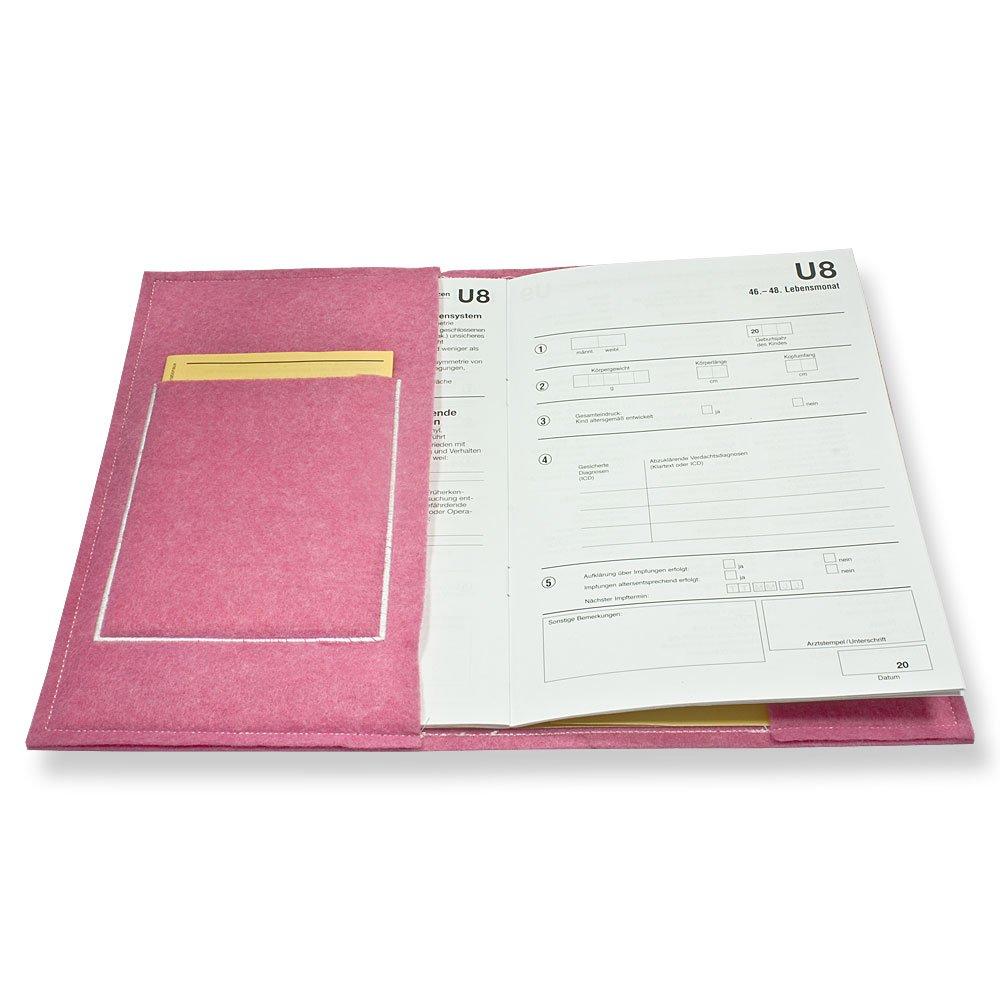 Set personalisiert wolga-kreativ Set U-Heft und Impfpass H/ülle Flamingo Baby Familie mit Name Untersuchungshefth/ülle Umschlag Impfpass Set ohne Namen