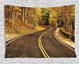 Fall Decor Tapestry, Autumn Scene with Curvy Road in Forest at Letchworth State Park New York USA, Wall Hanging for Bedroom Living Room Dorm, 80 W X 60 L Inches, Multicolor