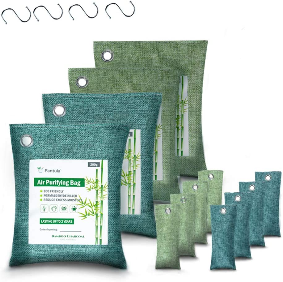 Pantula Bamboo Charcoal Bags - Activated Charcoal, Air purifying bags 12 Pack, Odor absorber (200G*4 50G*8) Air Freshener Natural Fresh, Charcoal bags for Home Pet Car with Activated Charcoal Natural Absorb: Kitchen & Dining