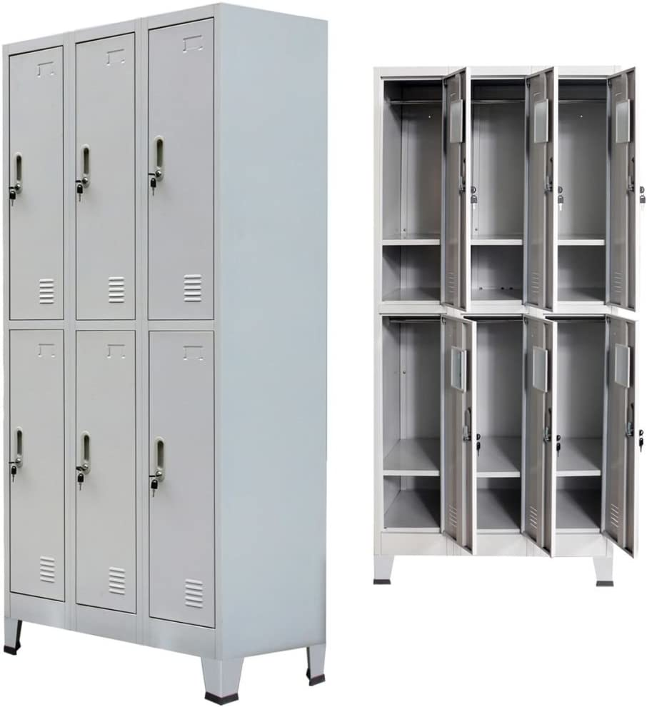 "Festnight Office Storage Locker Cabinet with 6 Compartments Steel Gray 35.4"" x 17.7"" x 70.9"""