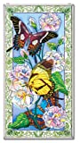 Amia Hand Painted Glass Window Decor Panel Featuring Butterflies, 20-Inch by 40-Inch
