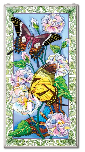 Amia Hand Painted Glass Window Decor Panel Featuring Butterflies, 20-Inch by 40-Inch by Amia