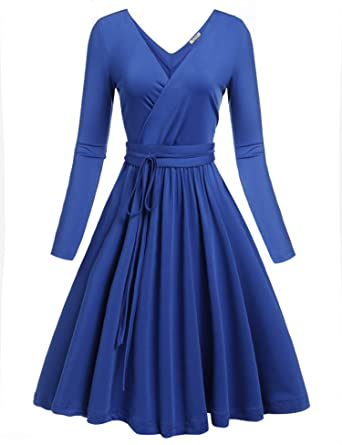 ACEVOG Pleated Fit Flare Dresses Women Sexy Deep V-Neck Long Sleeve ... 419f4424d