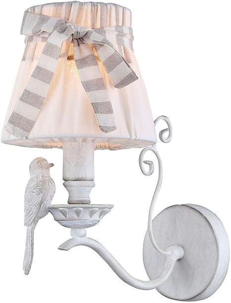 Romantica Lampada da Parete, Applique 1 luce, montatura in metallo bianco Shabby Chic, Paralume in tessuto bianco, decorazione uccello, per 1