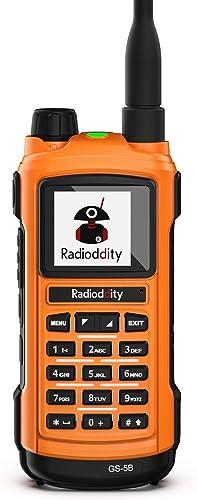 Radioddity GS-5B Bluetooth Programming Handheld Ham Radio Dual Band with Dual PTT, USB Charging, S-Meter, UHF VHF Rainproof Two Way Radio with Programming Cable