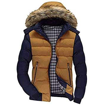 Malloom Hombre Inverno Casual Chaqueta Acolchada con Capucha De Pelo Sintética Espesar Cálido Impermeable A Prueba