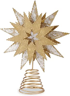 Mud Pie Metallic Star Tree Topper, Gold, Silver